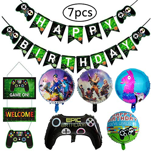 BESLIME Decoraciones Cumpleaños, Artículos de Fiestas para Fanáticos de los Videojuegos, Decoraciones para Cumpleaños de Tema de Videojuegos con Globos Pancartas