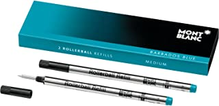 Montblanc Rollerball Refills (M) Barbados Blue 106932 – Quick-Drying Pen Refills for Montblanc Rollerball and Fineliner Pens – 2 x Bright Blue Pen Cartridges