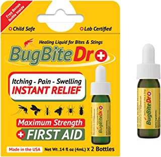 BugBiteDr Insect Bite Relief Oil - Healing Liquid Gel for Bites & Stings - Lab Tested Instant Relief from Itching & Pain - Safe for Kids & Pets - .14 fl oz (4ml) Each, 2 Bottles - MSRP $12.99