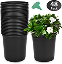 GROWNEER 48-Pack 0.7 Gallon Flexible Nursery Pot Flower Pots with 15 Pcs Plant Labels, Plastic Plant Container Perfect for Indoor Outdoor Plants, Seedlings, Vegetables, Succulents and Cuttings 2.5Qt