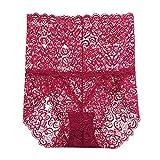 WQDS Bragas de Cintura Alta para Mujer, Ropa Interior Transpirable de Encaje, Panty Transparente Transparente Sexy-Vino Rojo_Metro