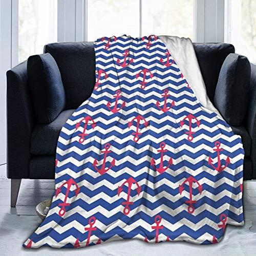 Manta mullida, diseño geométrico náutico con telón de fondo ondulado en zigzag para viajes, costero, ultra suave, manta para dormitorio, cama, TV, manta de cama de 80 x 60 pulgadas