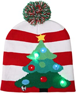 LED Light Up Hat Beanie Knit Cap, 6 Colorful LED Xmas Christmas Beanie, Winter Warm Holiday Hat Beanie Cap Unisex for Adul...