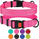 CollarDirect Reflective Dog Collar,SafetyNylon Collars for Dogs with Buckle,Outdoor Adjustable Puppy Collar Small Medium Large (Neck Fit 14'-18', Pink)