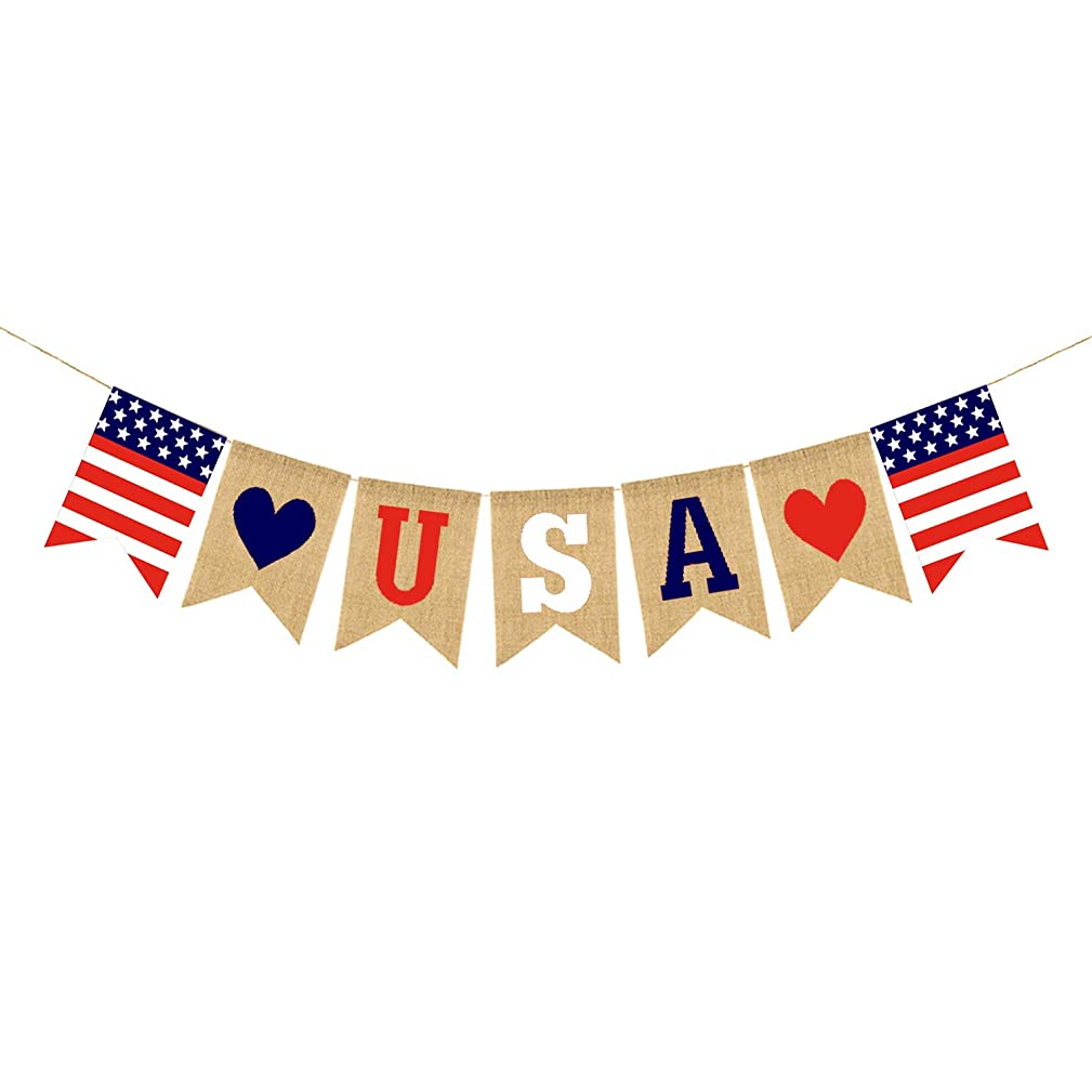 KISSBUTY USA Banner Burlap Bunting American 4th of July Decorations Independence Day Celebration Decorations USA Patriotic Festive Banner Red White and Blue Theme Party Supplies Wall Hanging Decor