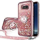 Miss Arts Galaxy S8 Active Hülle, [Silverback] Mädchen Glitzern Handyhülle hülle mit drehendem, Cover TPU Bumper Silikon Flüssigkeit Treibsand Clear Schutzhülle für Samsung Galaxy S8 Active -Rosygold