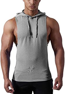 Comaba Mens Solid-Colored Fitness Activewear With Hooded Leisure Pullover Tshirt Top