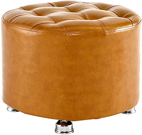 PU Foot Stool Round Pouffe Stool Upholstered Footstool Ottoman Elastic Sponge Filling Sofa Stool Footrest Stool Max Load 100KG 40cmx30cm 5 Colors