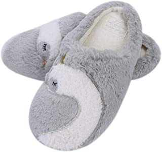 Women's Warm Slippers Soft Comfy Plush Indoor Slippers Thermal Bedroom Office House Slippers Anti-Slip Autumn Winter Breathable Slip On Mules Ladies Girls Swan Crown Pattern Footwear with Rubber Sole