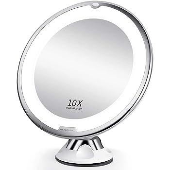 ELFINA Spaire Espejo Maquillaje/Afeitado Aumento con Luz, Espejo Aumento LED Cosmético con Ampliación 10X y Poderoso Ventosa, Rotación 360°, con Una Pequeña Bolsa como Regalo: Amazon.es: Hogar