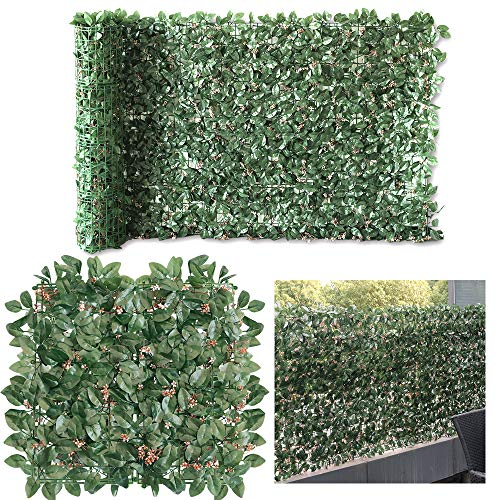 · Petgrow · Artificial Ivy with Flower for Fence Privacy Screen, Faux Foliage Leaf Privacy Outdoor Garden Wall Artificial Hedge Boxwood,2 Roll