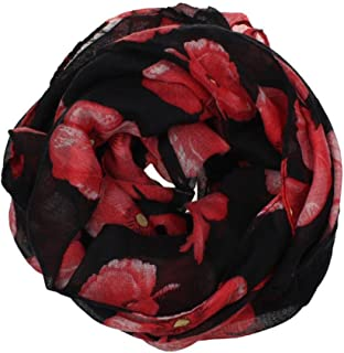 HOT, YANG-YI Fashion Women Soft Thin Chiffon Silk Scarf Flower Printed Scarves Wrap Shawl (Black-a, one Size)