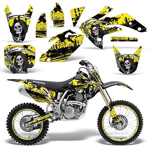 Wholesale Decals MX Dirt Bike Graphics kit Sticker Decal Compatible with Honda CRF150R 2007-2016 - Yellow Reaper V2
