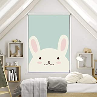 COSMOSS Custom Size 100% Blackout Light Filter Window Blinds Shades Nursery Decor Bunny Nordic Graphic Pattern Thermal Insulated UV Protection Shade