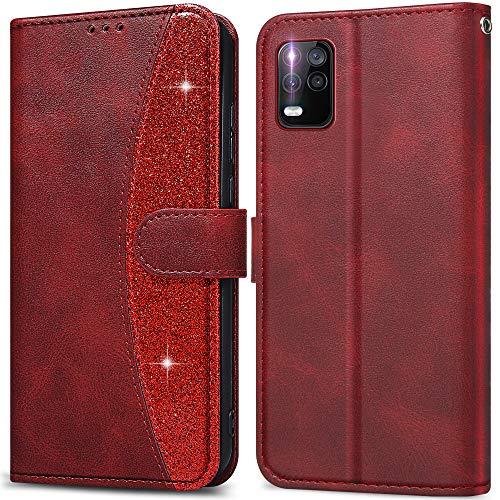 LEBE Funda para Xiaomi Mi 10 Lite,Cuero Carcasa con Flip Case Cover[Cierre Magnético] [Ranuras para Tarjetas]para Xiaomi Mi 10 Lite 5G -Rojo