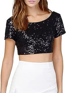 Balai Women's Sequins Crop Tops Night Out Clubwear Summer Shirt Short Sleeve Tee Tops Blouse
