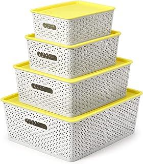 EZOWare 4 pcs Cestas de Almacenaje Multiuso con Tapas Cajas Organizadoras de Plástico Apilable con Efecto de Mimbre y Asa...