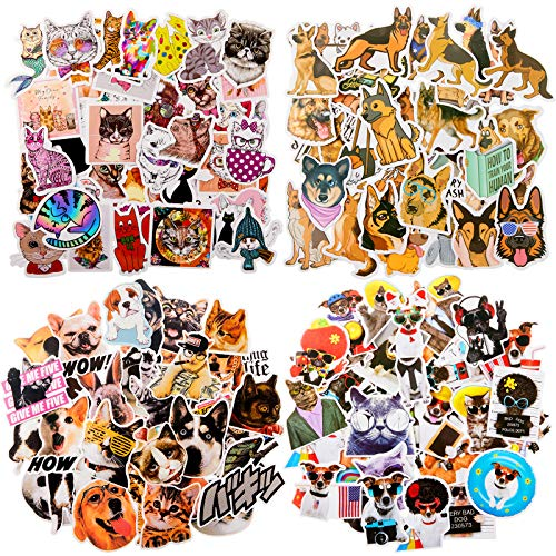 Zonon 177 Pieces Dog Vinyl Stickers Cat Laptop Stickers Waterproof Funny Animal Stickers for Water Bottle Cute Pet Decals for Luggage Skateboard Guitar, 4 Styles