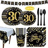 Amycute Forniture per Feste di 30 Anni Compleanno, 30 Compleanno Tovaglioli, Banner, Piatti, Bicchieri, Coltelli, Forchette, Cucchiai, 30 Compleanno Decorazione(Oro Nero)