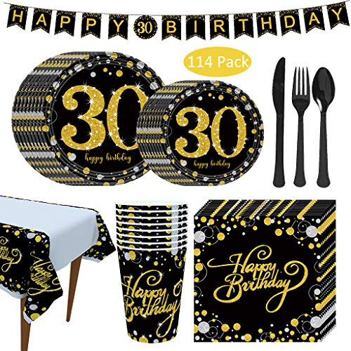 DreamJing - Vajilla desechable para cumpleaños de 30 años, color negro y dorado con mantel, para cumpleaños con plato, vaso, cuchillo y tenedor, 16 invitados