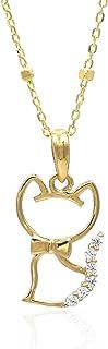 Tala Collana in Oro 14K Pendente in Oro Giallo e Zirconi Gatto con Papillion Lunghezza Catena 50 cm Peso gr 2.4