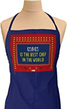 Indigifts Mother Birthday Gift Mom is The Best Chef in The World Quote Ethnic Indiana Artwork Blue Apron 26x30 inches - Gift for Mothers Day-Mom-Mummy-Maa-Birthday-Anniversary, Apron for Mom