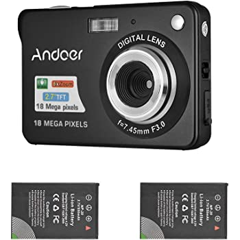 Andoer Mini Digital Camera with 2pcs Rechargeable Batteries 720P HD 8X Digital Zoom Anti-Shake 2.7inch LCD Screen for Kids Children Holiday