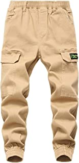 TLAENSON Boys Pull On Twill Cargo Jogger Pants with Pockets