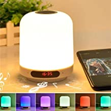 MIUSI[2020 NEWEST] New MULTIFUNCTIONAL Bluetooth Speaker Lamp, Portable Wireless Bluetooth Speakers, FM Radio Player, Alarm Clock,Touch Control, Color LED Speaker, Bedside Table Light, hand-free Speakerphone/TF Card/AUX-in Supported (White)