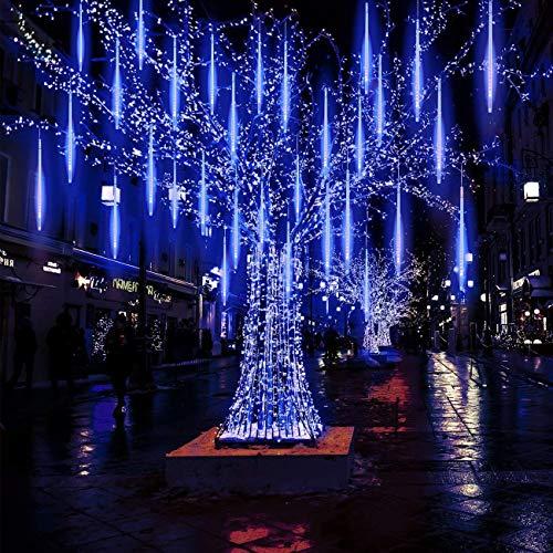LEDs Meteorschauer Regen Lichter 30cm 8Tube 200LEDs Wasserdichte Meteor Shower Lichtermit EU Stecker für Hochzeit Party Weihnachten Dekoration Hause Dekoration Außen (Blau)