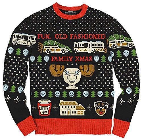 Christmas Vacation Fun Old Fashioned Family Xmas Ugly Christmas Sweater (S) Black, Red