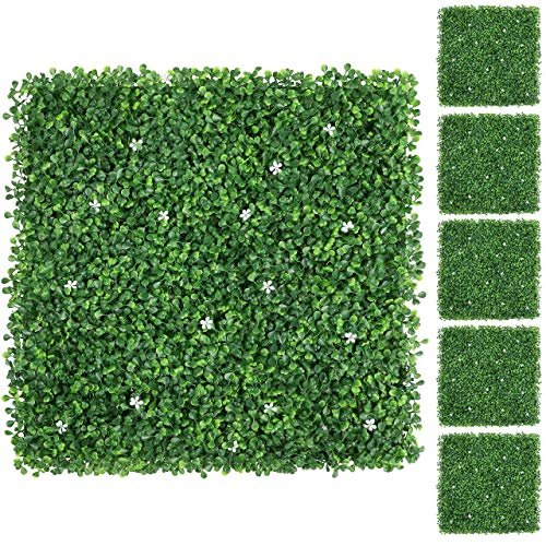 YAHEETECH 12Pcs 20 x 20 inch Artificial Boxwood Panels w/Little White Flowers Topiary Hedge Plant UV Protected Privacy Hedge Screen for Garden,Home,Fence,Backyard and Decorations Green (Renewed)