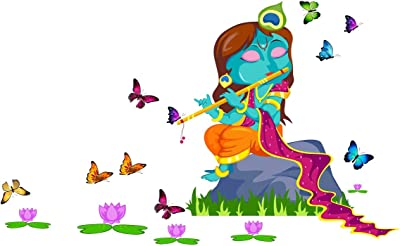 Wallstick Beautiful Little Krishna wallstickers (Vinyl 125 cm x 75 cm) …