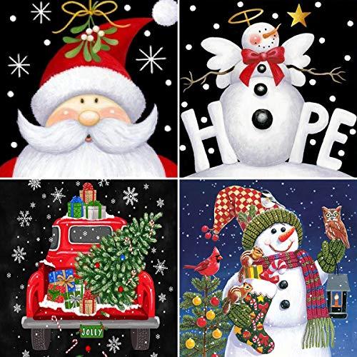 4 Pack DIY 5D Christmas Diamond Painting Kits,CCOZN Full Drill Christmas Santa Claus Snowman Car Rhinestone Diamond Painting for Beginner Adults Diamond Arts Home Wall Decor, 9.8 X 9.8inch