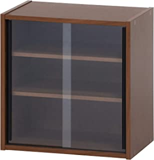 不二貿易 食器棚 コンパクト 幅43cm ミディアムブラウン ガラス扉 可動棚 99432 【Amazon.co.jp限定】
