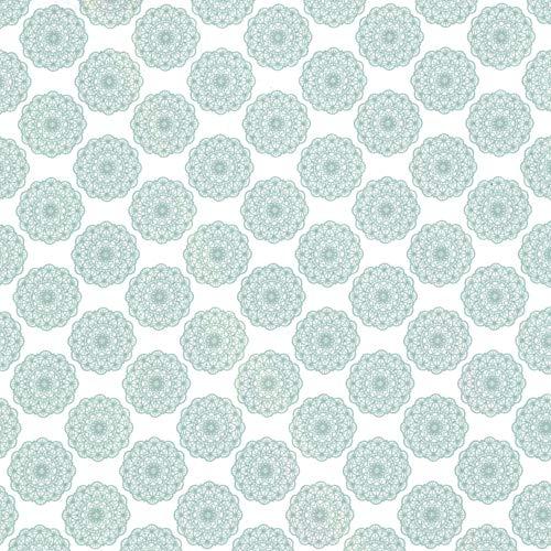 CRELANDO® Textil-Klebefolie für Möbel und Schreibwaren, 30 x 100 cm *selbstklebend (türkis Ornamente)