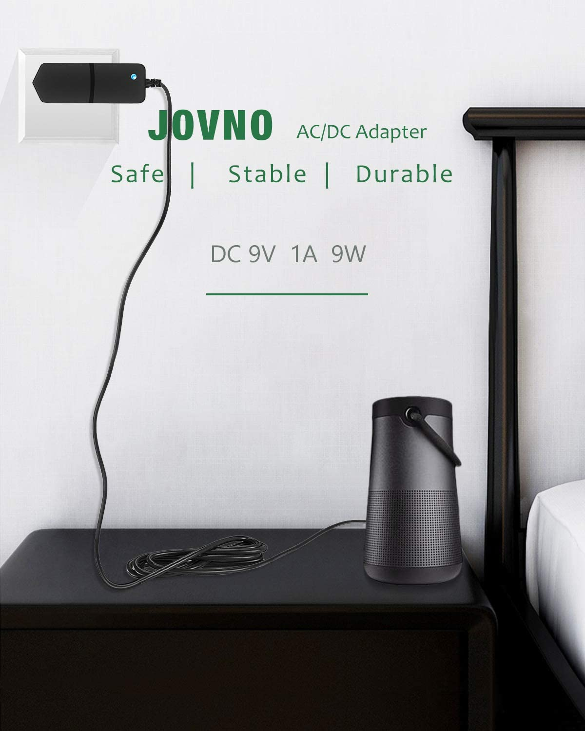 JOVNO 9V 1A Power Supply Adapter 100-240V AC/DC 9V 800mA 500mA 9W Max Power Converter with 5.5x2.5mm Tip for NES, Arduino, Breast Pump, Speaks, Routers, Home Camera, Security System, Center Positive