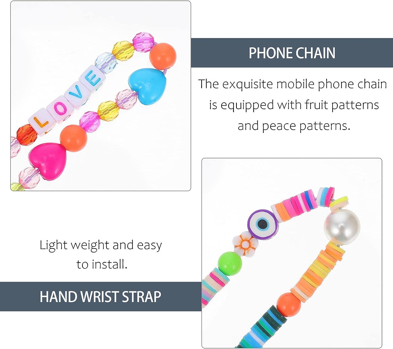 Hemobllo 3Pcs Beaded Phone Lanyard Wrist Strap Evil Eye Lucky Phone Charm Chain Polymer Clay Wristlet String Boho Keychain for Mobile Phone Key Purses Random Color