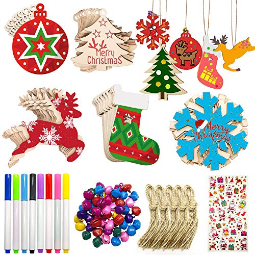 Scientoy Wooden Christmas Ornaments, 50 Pcs Christmas Crafts for Kids, DIY Christmas Ornaments Kit with 50 Colorful Bells , 8 Makers & Stickers, Unfinished Wood Slice for Hanging Holiday Decoration
