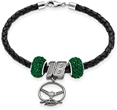 Beautiful Sterling silver 925 sterling SS LEATHER BRACELET W/TWO DARK GREEN CRYSTAL BEADS 18 BEADSTE