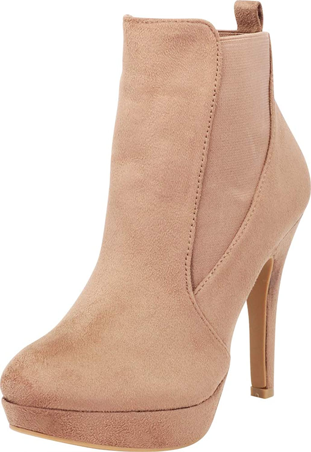 Cambridge Select Women's Stretch Slip-On Platform Siletto High Heel Ankle Bootie