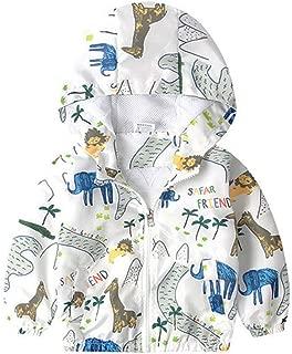 GLEAMING GRAIN Little Boy Zipper Hooded Jacket,Cool Cartoon Dinosaur Print Long Sleeve Windproof Casual Outerwear