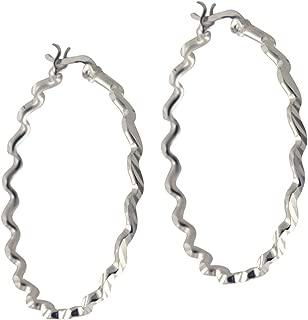apop nyc 925 Sterling Silver ZigZag Round Hoop Earrings [Jewelry]