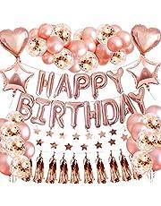 SPECOOL födelsedag dekor rosegold, party dekor med ballonger roséguld grattis på födelsedagen ballong födelsedeko för flickor barn kvinna