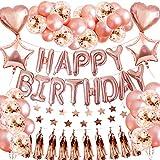 Set de decoraciones para fiestas de globos de cumpleaños de oro rosa, SPECOOL Suministro de fiesta de 46 piezas Con oropel metálico Pancarta con forma de champaña Bunting de confeti Globos de aluminio