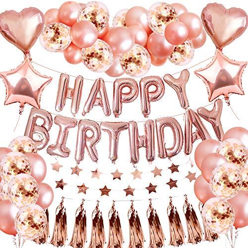 Geburtstag Deko Rosegold, SPECOOL Party Deko mit Luftballons Rosegold Happy Birthday Ballon Geburstagsdeko für Mädchen Kinder Frau