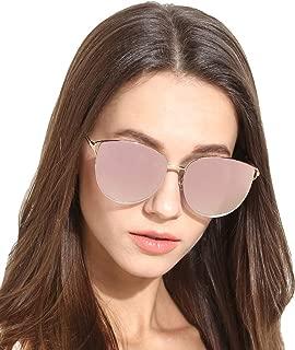 Oversized Sunglasses for Women, Mirrored Cat Eye Sunglasses with Rimless Design U225