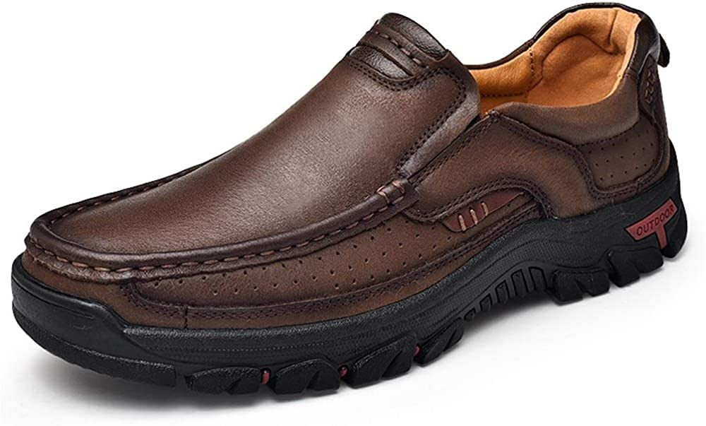 Battle Men Casual Oxford for Men Slip on Loafer Moccasin Genuine Leather Perforated Elastic Band Round Toe Stitching Casual (Color : Brown, Size : 6.5 M US)