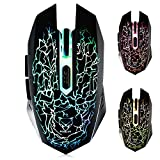 VEGCOO C10 Wireless Gaming Mouse Rechargeable Silent Optical Mice with 7 Colors LED Lights, 7...