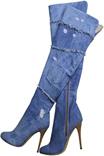 42a294f8db7 Amy Q Women s Denim Thigh High Over The Knee Boots Peep Toe High Heel Boots  Size